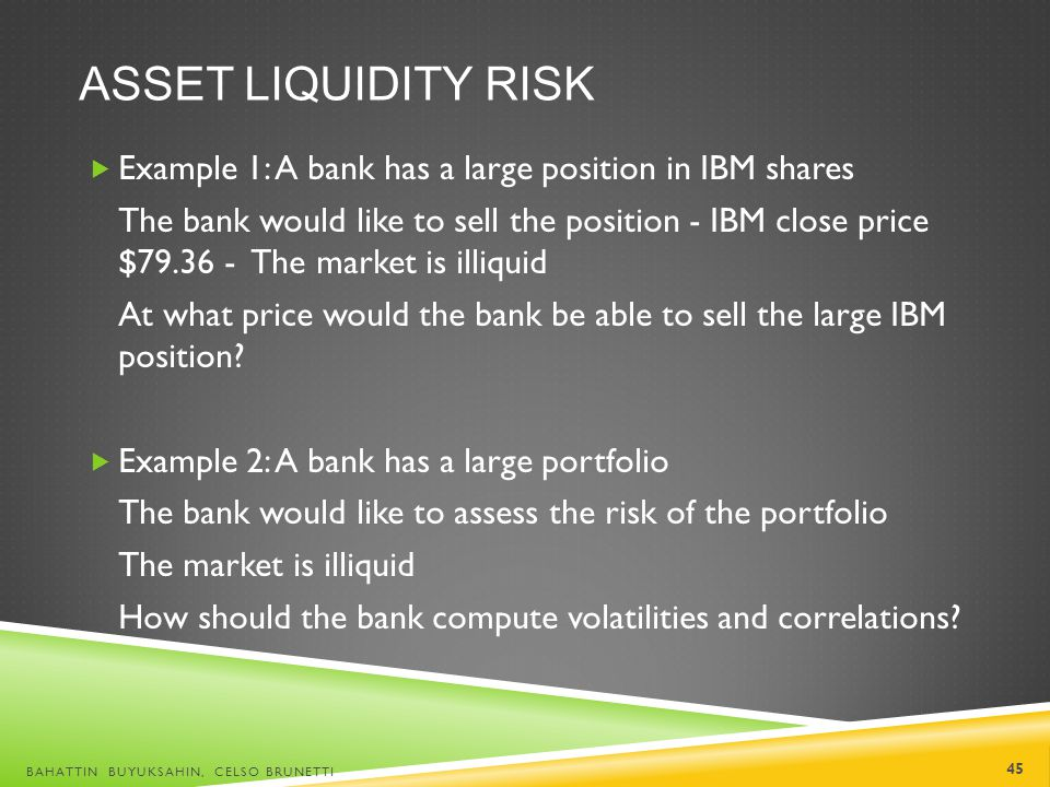 ASSET LIQUIDITY RISK Example 1: A bank has a large position in IBM shares The bank would like to sell the position - IBM close price $79.36 - The mark