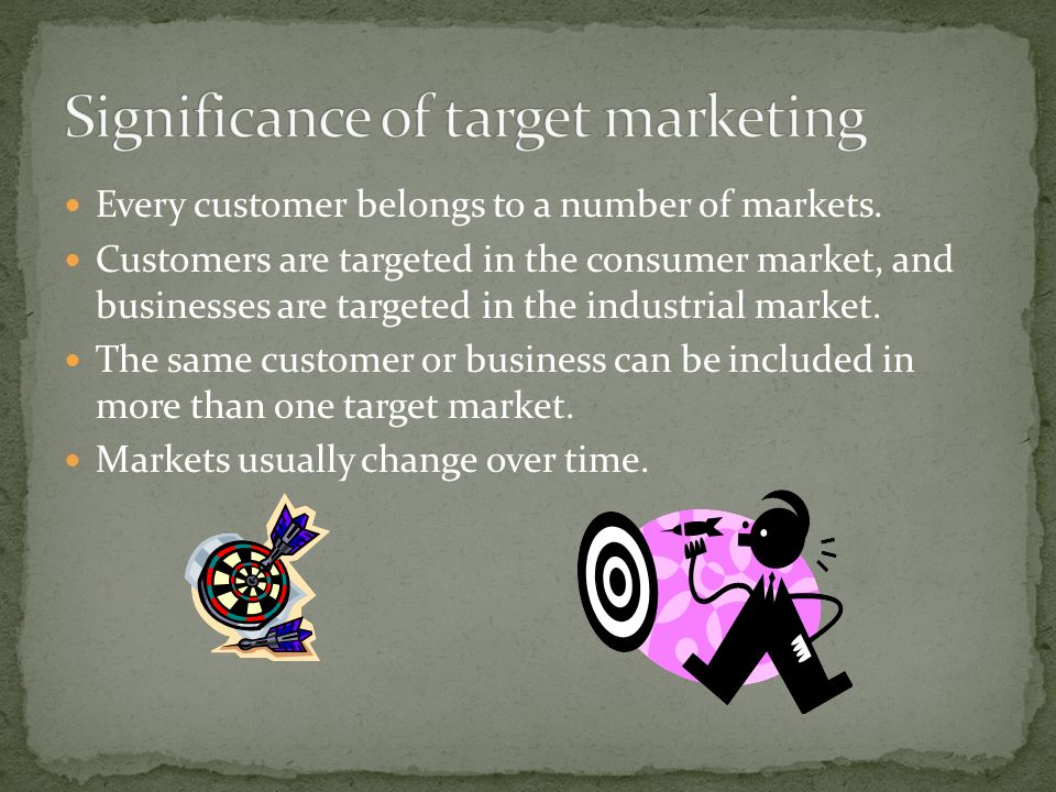 Every customer belongs to a number of markets.