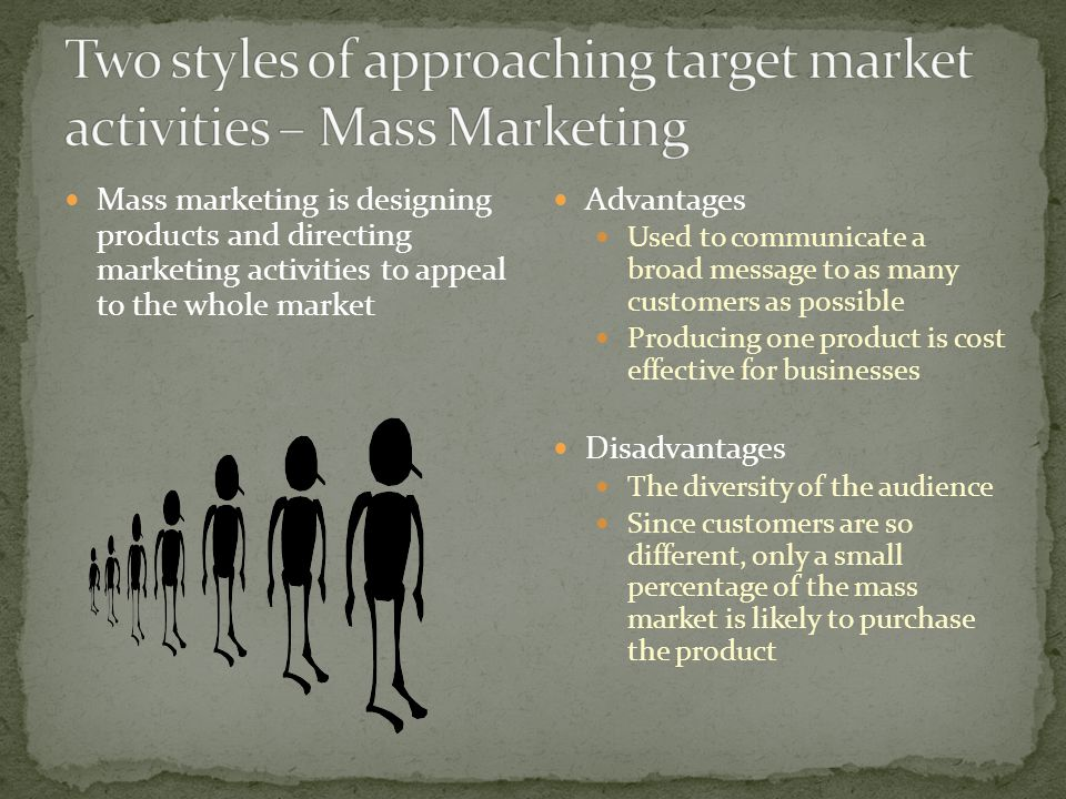 Market Segmentation is the division of a total market into smaller, more specific groups as a way to meet the customers needs Advantages More precise Allows for a finely tuned product, appropriate price, and ease of distribution Disadvantages More complex, difficult to produce products More money needed