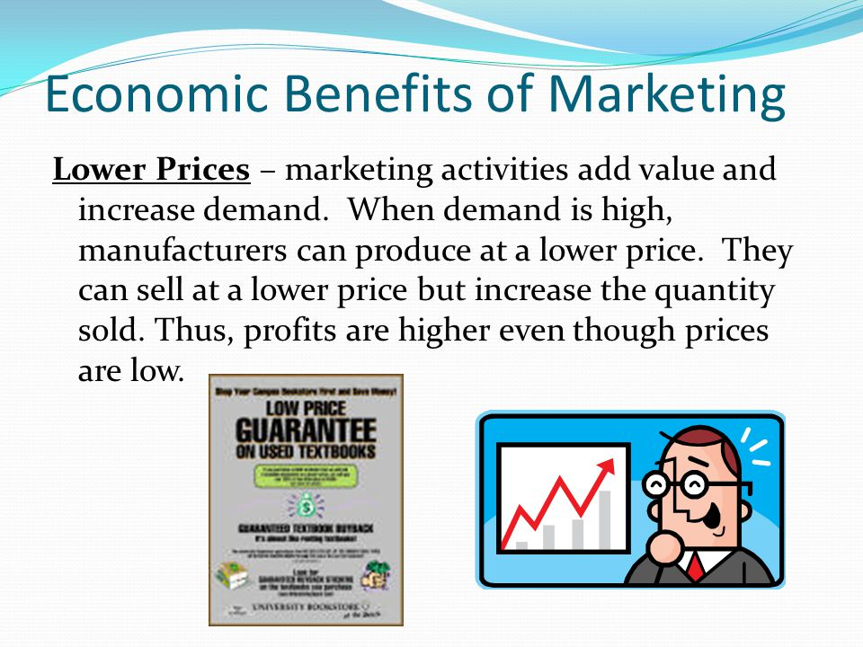 Economic Benefits of Marketing Lower Prices – marketing activities add value and increase demand. When demand is high, manufacturers can produce at a
