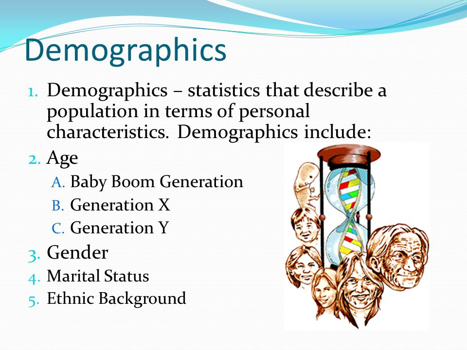 Demographics 1. Demographics – statistics that describe a population in terms of personal characteristics. Demographics include: 2. Age A. Baby Boom G