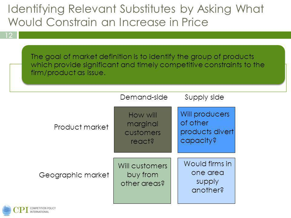 12 Identifying Relevant Substitutes by Asking What Would Constrain an Increase in Price The goal of market definition is to identify the group of products which provide significant and timely competitive constraints to the firm/product as issue.