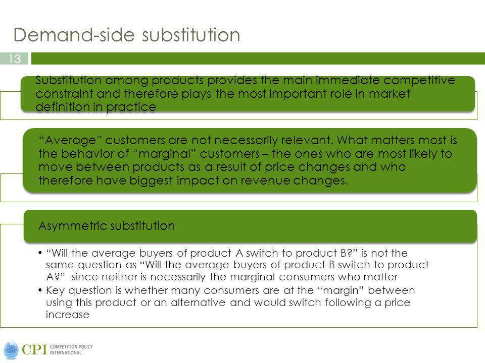 13 Demand-side substitution Substitution among products provides the main immediate competitive constraint and therefore plays the most important role in market definition in practice Average customers are not necessarily relevant.
