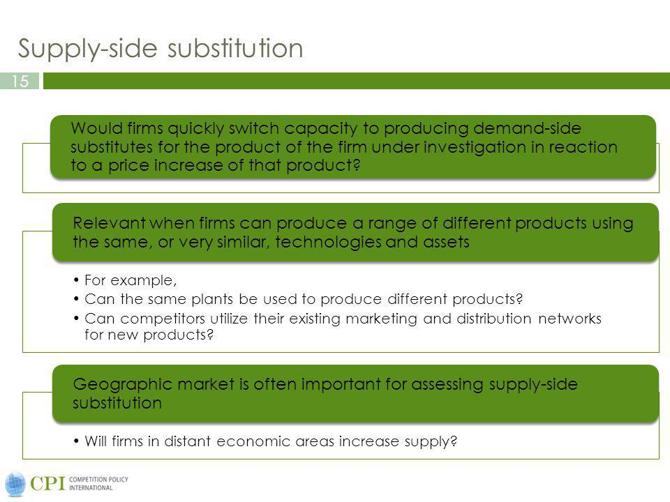 15 Supply-side substitution Would firms quickly switch capacity to producing demand-side substitutes for the product of the firm under investigation in reaction to a price increase of that product.
