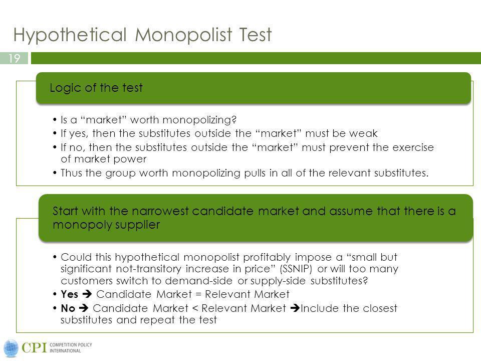 19 Hypothetical Monopolist Test Is a market worth monopolizing.