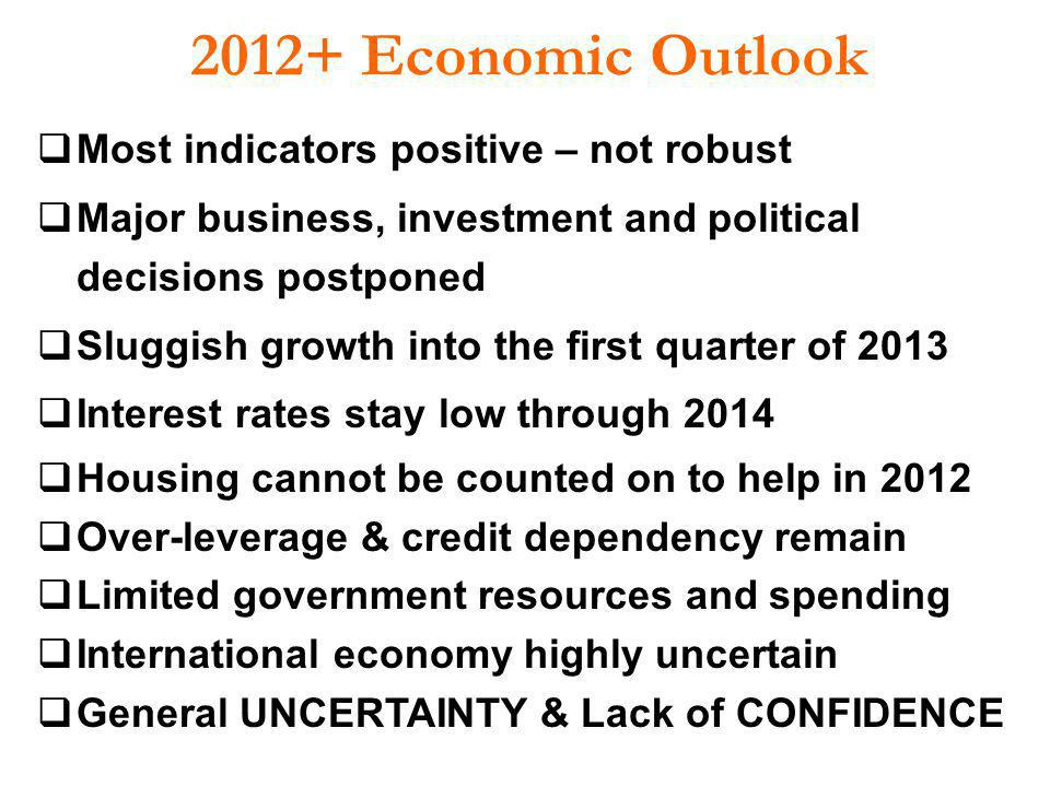 2012+ Economic Outlook Most indicators positive – not robust Major business, investment and political decisions postponed Sluggish growth into the fir