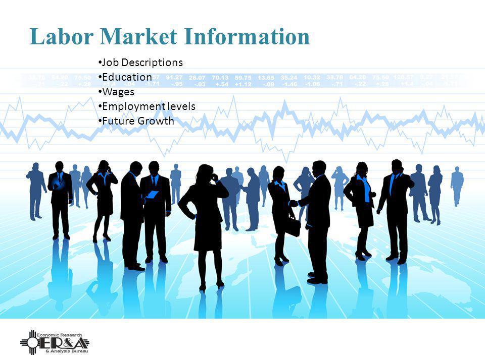 Labor Market Information Job Descriptions Education Wages Employment levels Future Growth