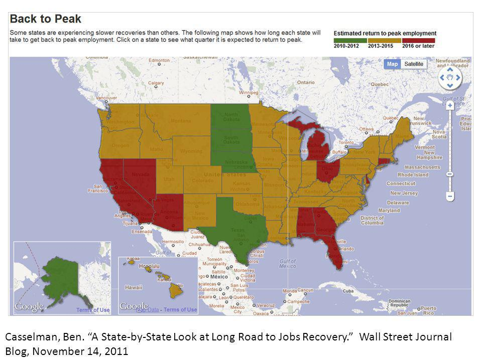 Casselman, Ben. A State-by-State Look at Long Road to Jobs Recovery. Wall Street Journal Blog, November 14, 2011