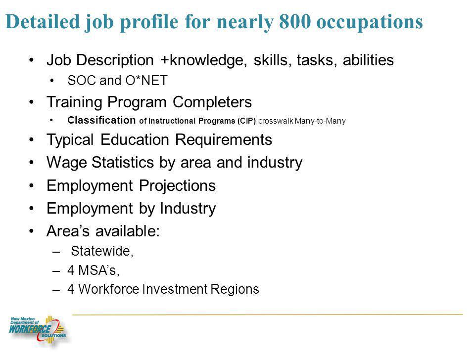 Detailed job profile for nearly 800 occupations Job Description +knowledge, skills, tasks, abilities SOC and O*NET Training Program Completers Classification of Instructional Programs (CIP) crosswalk Many-to-Many Typical Education Requirements Wage Statistics by area and industry Employment Projections Employment by Industry Areas available: – Statewide, –4 MSAs, –4 Workforce Investment Regions