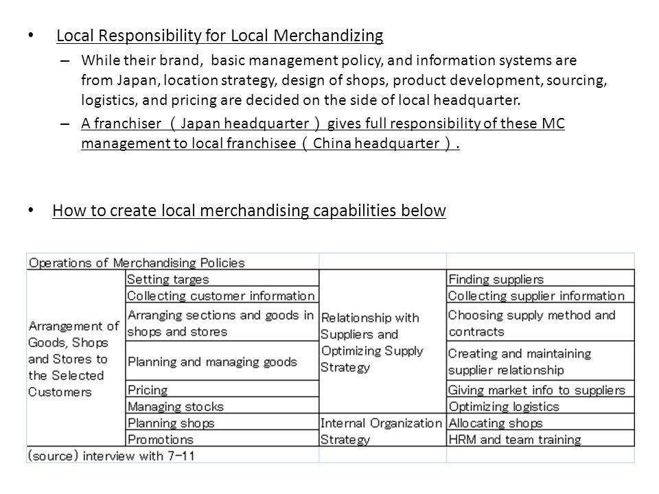 Local Responsibility for Local Merchandizing – While their brand, basic management policy, and information systems are from Japan, location strategy, design of shops, product development, sourcing, logistics, and pricing are decided on the side of local headquarter.