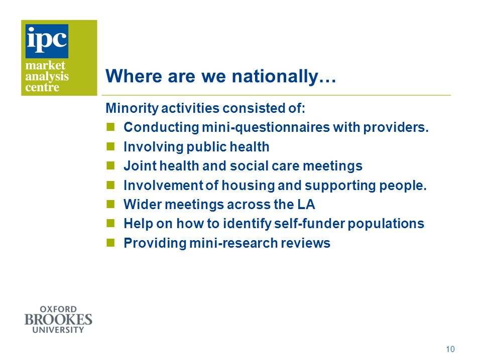 Where are we nationally… Minority activities consisted of: Conducting mini-questionnaires with providers. Involving public health Joint health and soc