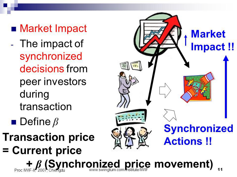 www.swingtum.com/institute/IWIF11 Proc IWIF-II, 2007, Chengdu Market Impact - The impact of synchronized decisions from peer investors during transaction Define β Transaction price = Current price + β (Synchronized price movement) Market Impact !.