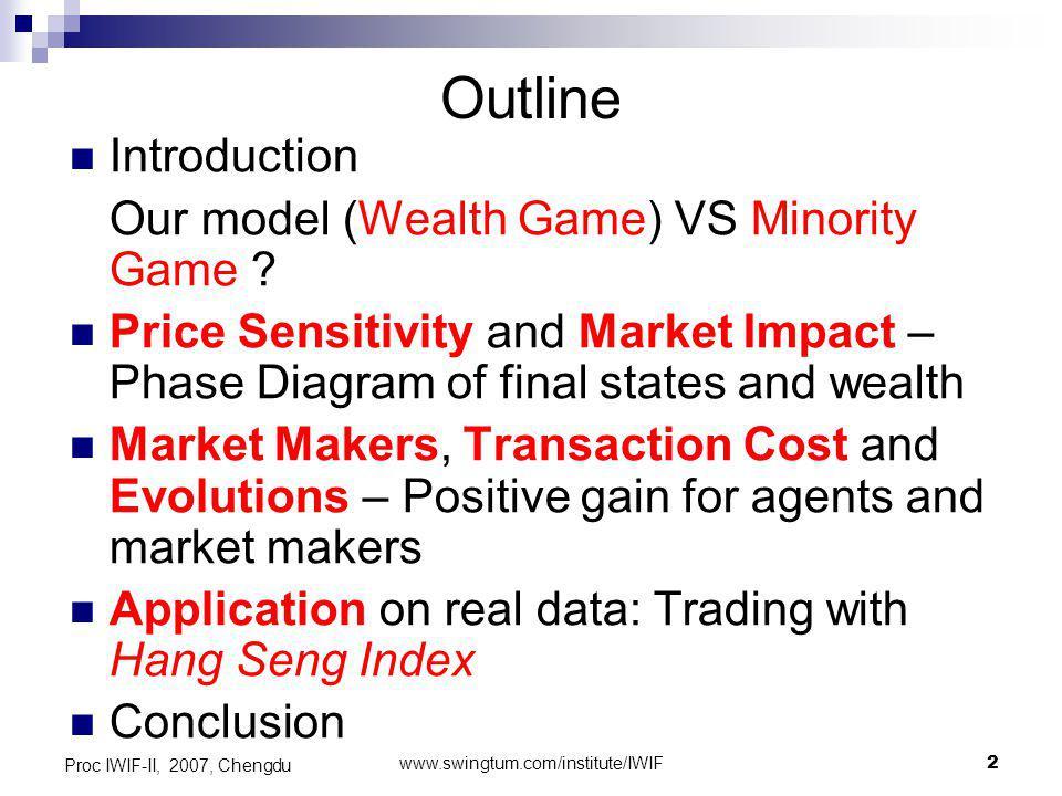 www.swingtum.com/institute/IWIF3 Proc IWIF-II, 2007, Chengdu Introduction Minority Game (MG) – The model by D.