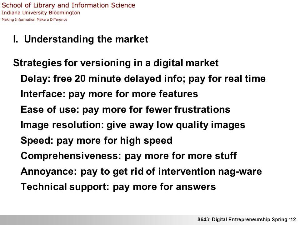 S643: Digital Entrepreneurship Spring 12 I. Understanding the market Strategies for versioning in a digital market Delay: free 20 minute delayed info;