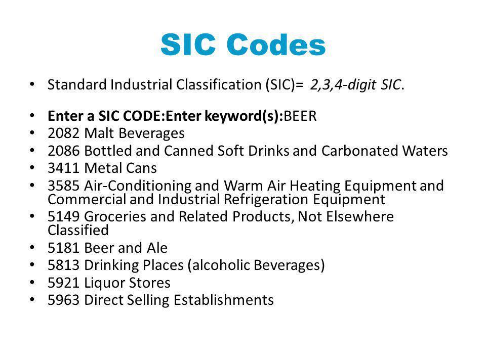 SIC Codes Standard Industrial Classification (SIC)= 2,3,4-digit SIC. Enter a SIC CODE:Enter keyword(s):BEER 2082 Malt Beverages 2086 Bottled and Canne