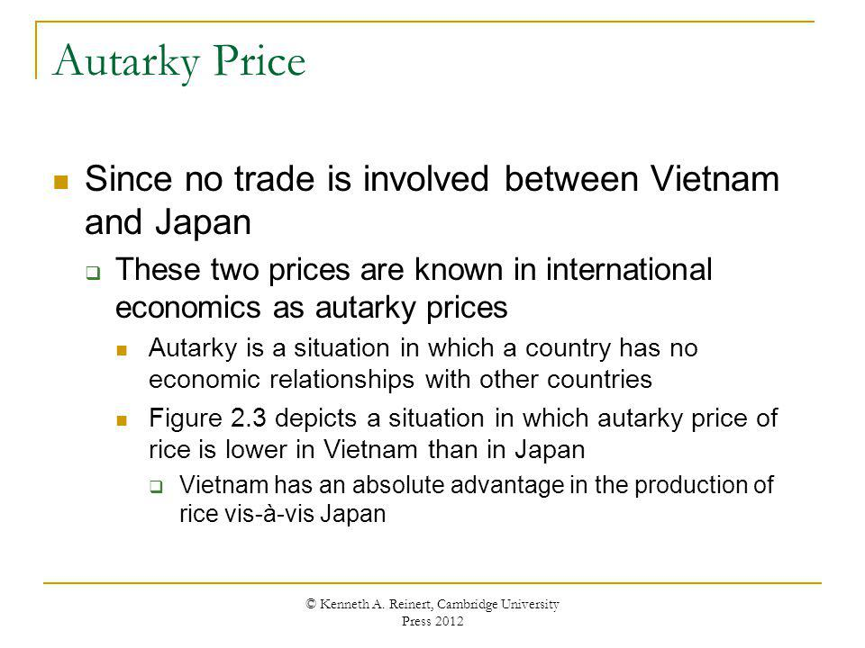 Autarky Price Since no trade is involved between Vietnam and Japan These two prices are known in international economics as autarky prices Autarky is