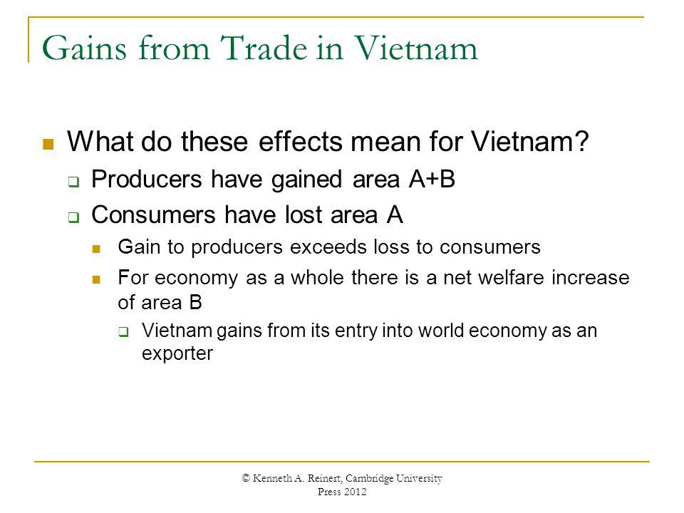 Gains from Trade in Vietnam What do these effects mean for Vietnam? Producers have gained area A+B Consumers have lost area A Gain to producers exceed