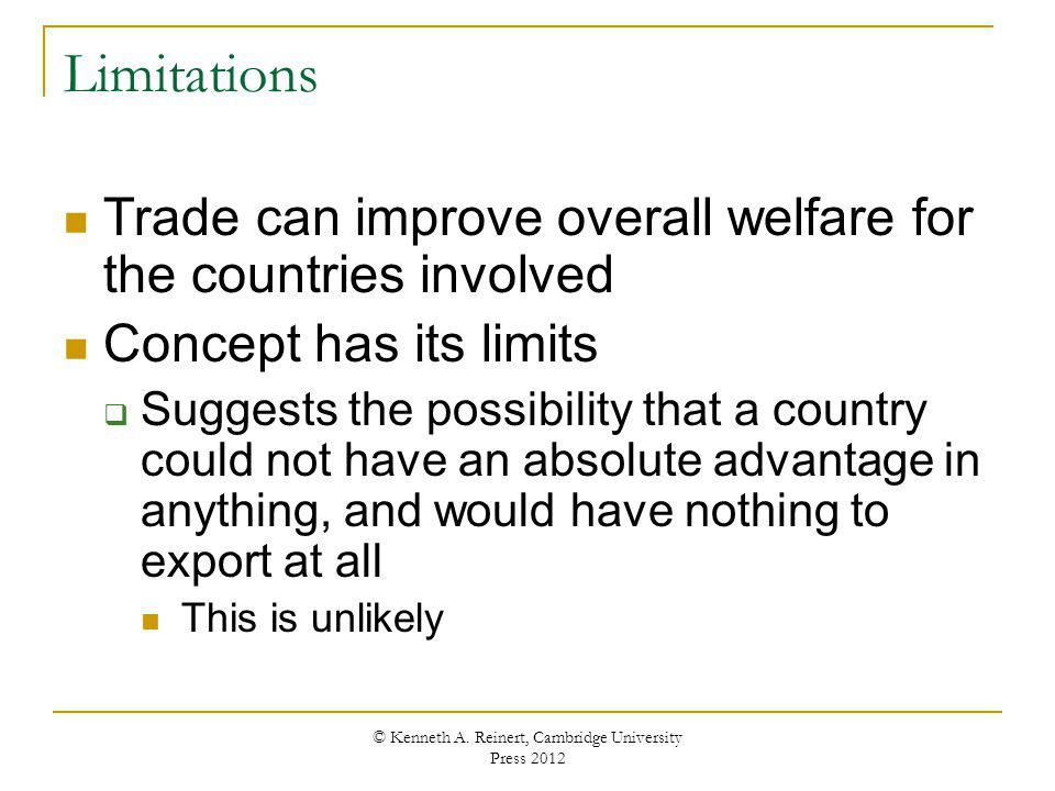 Limitations Trade can improve overall welfare for the countries involved Concept has its limits Suggests the possibility that a country could not have