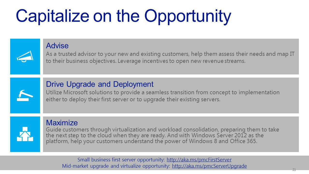 Small business first server opportunity:   Mid-market upgrade and virtualize opportunity:   Capitalize on the Opportunity Drive Upgrade and Deployment Utilize Microsoft solutions to provide a seamless transition from concept to implementation either to deploy their first server or to upgrade their existing servers.
