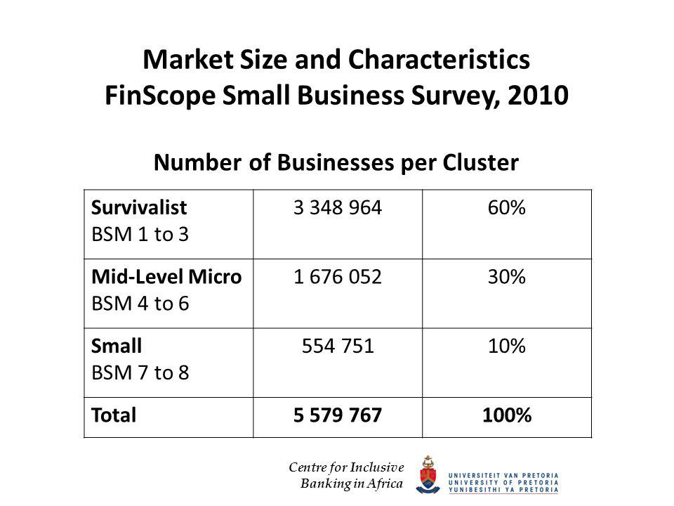Centre for Inclusive Banking in Africa Market Size and Characteristics FinScope Small Business Survey, 2010 Number of Businesses per Cluster Survivalist BSM 1 to % Mid-Level Micro BSM 4 to % Small BSM 7 to % Total %