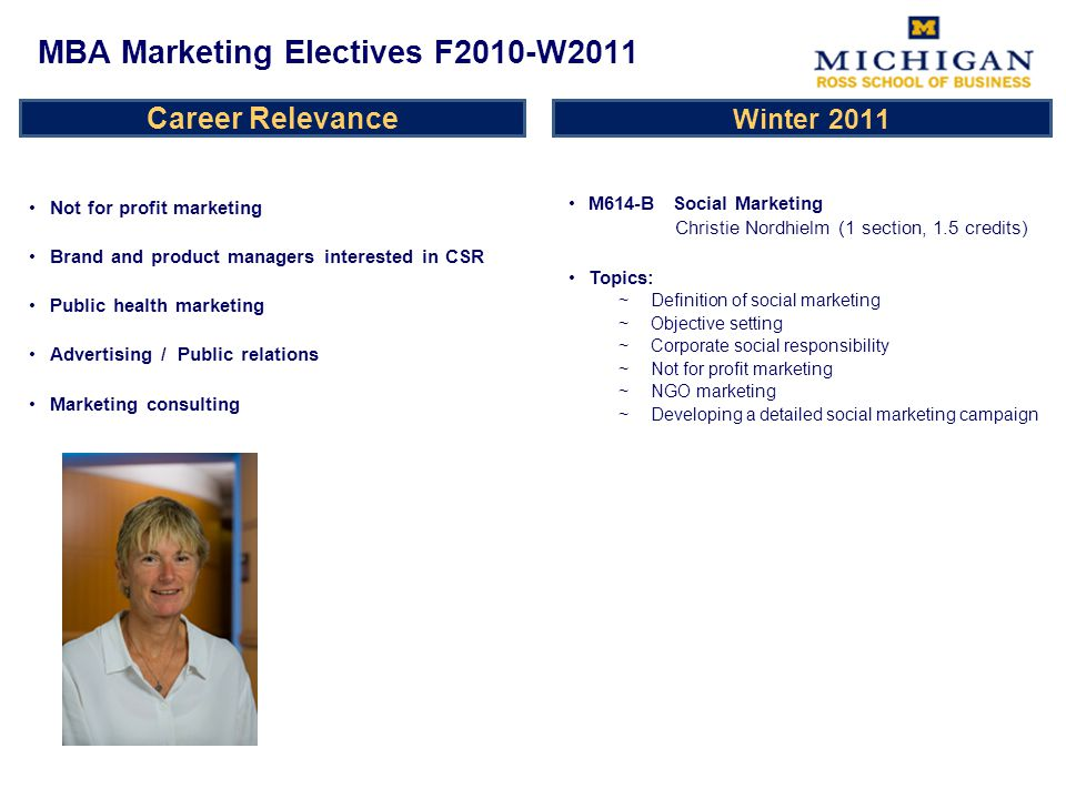 Career Relevance Not for profit marketing Brand and product managers interested in CSR Public health marketing Advertising / Public relations Marketing consulting M614-B Social Marketing Christie Nordhielm (1 section, 1.5 credits) Topics: ~Definition of social marketing ~Objective setting ~Corporate social responsibility ~Not for profit marketing ~NGO marketing ~Developing a detailed social marketing campaign MBA Marketing Electives F2010-W2011 Winter 2011