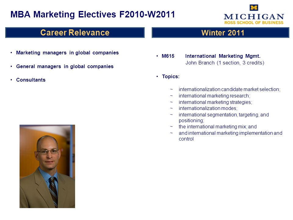 Career Relevance Marketing managers in global companies General managers in global companies Consultants M615 International Marketing Mgmt.