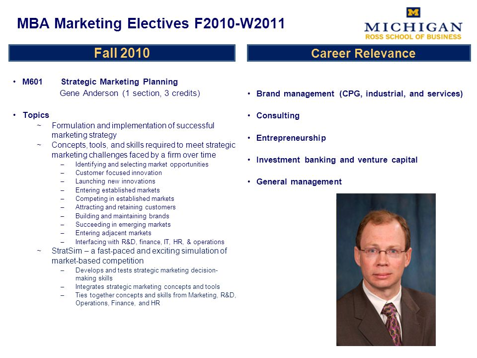 Fall 2010 M601 Strategic Marketing Planning Gene Anderson (1 section, 3 credits) Topics ~Formulation and implementation of successful marketing strategy ~Concepts, tools, and skills required to meet strategic marketing challenges faced by a firm over time –Identifying and selecting market opportunities –Customer focused innovation –Launching new innovations –Entering established markets –Competing in established markets –Attracting and retaining customers –Building and maintaining brands –Succeeding in emerging markets –Entering adjacent markets –Interfacing with R&D, finance, IT, HR, & operations StratSim – a fast-paced and exciting simulation of market-based competition –Develops and tests strategic marketing decision- making skills –Integrates strategic marketing concepts and tools –Ties together concepts and skills from Marketing, R&D, Operations, Finance, and HR Brand management (CPG, industrial, and services) Consulting Entrepreneurship Investment banking and venture capital General management MBA Marketing Electives F2010-W2011 Career Relevance