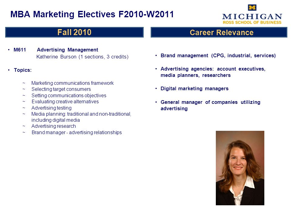 Fall 2010 M618 Marketing Research Anocha Aribarg (2 sections, 3 credits) Topics: ~Introduction to the marketing research process ~Value of marketing information ~Role of marketing research ~Marketing problem identification ~Study design ~Sampling ~Questionnaire design ~Marketing experiments/test markets ~Marketing research data analysis ~Introduction to discrete choice models and conjoint analysis ~Measuring customer life time value Brand management (CPG, industrial, services) Advertising agencies Non-profit marketers and general managers Consulting Investment Banking Entrepreneurship MBA Marketing Electives F2010-W2011 Career Relevance