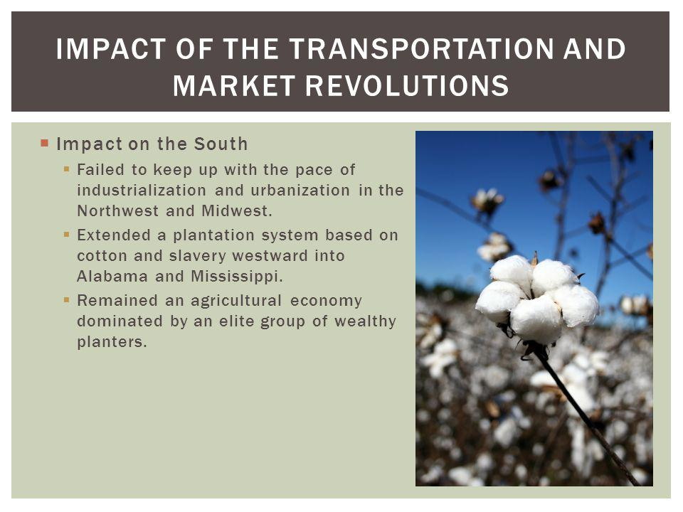 Impact on the South Failed to keep up with the pace of industrialization and urbanization in the Northwest and Midwest. Extended a plantation system b