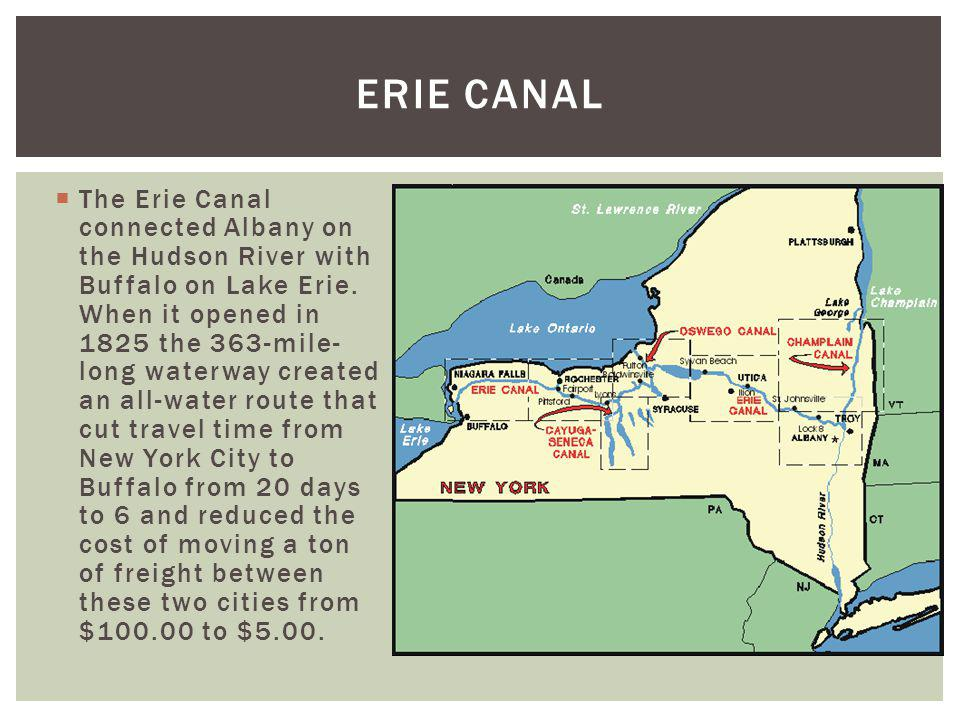 The Erie Canal connected Albany on the Hudson River with Buffalo on Lake Erie. When it opened in 1825 the 363-mile- long waterway created an all-water