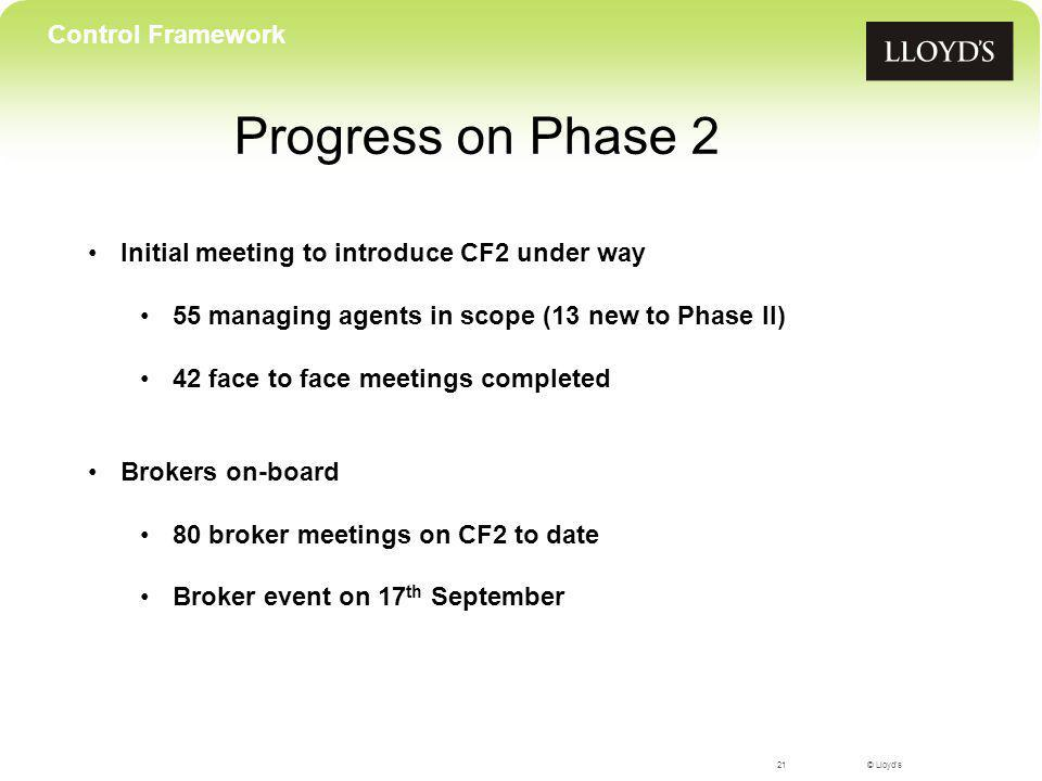 © Lloyds Progress on Phase 2 21 Control Framework Initial meeting to introduce CF2 under way 55 managing agents in scope (13 new to Phase II) 42 face