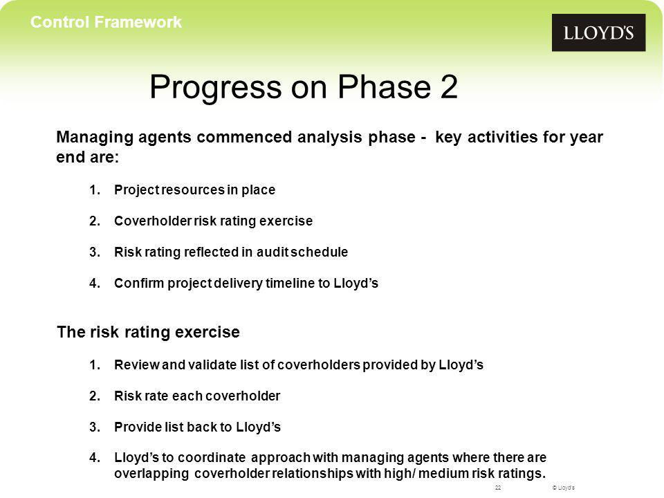 © Lloyds Progress on Phase 2 22 Control Framework Managing agents commenced analysis phase - key activities for year end are: 1.Project resources in p