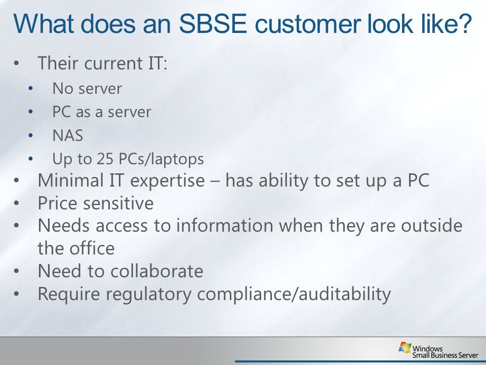 What does an SBSE customer look like.