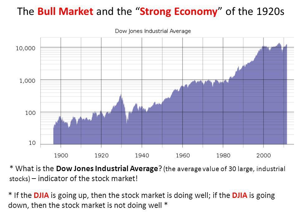 The Bull Market and the Strong Economy of the 1920s * If the DJIA is going up, then the stock market is doing well; if the DJIA is going down, then th