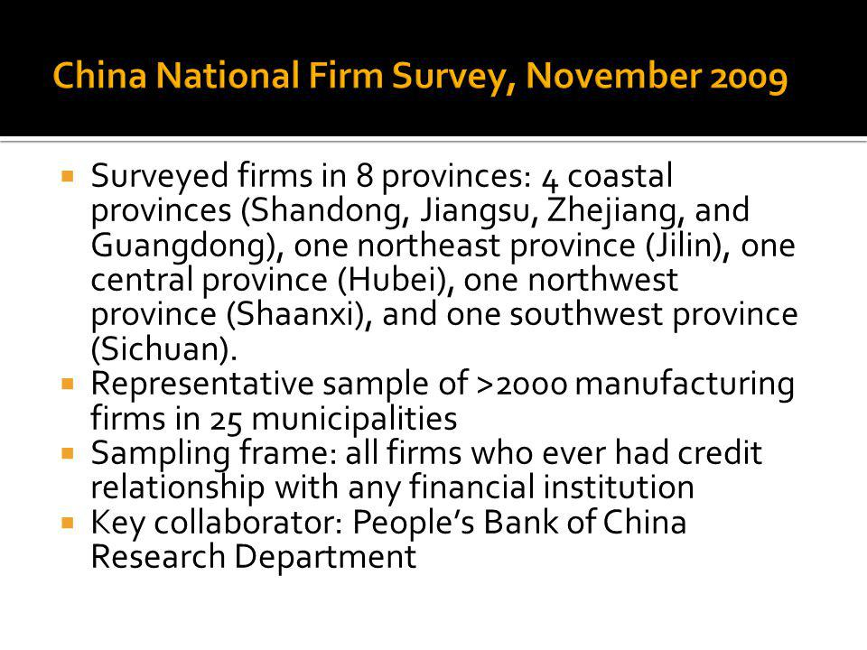 Surveyed firms in 8 provinces: 4 coastal provinces (Shandong, Jiangsu, Zhejiang, and Guangdong), one northeast province (Jilin), one central province (Hubei), one northwest province (Shaanxi), and one southwest province (Sichuan).