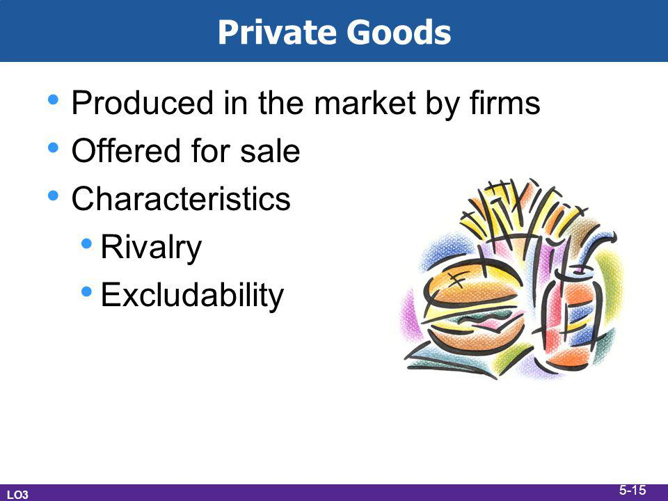 Private Goods Produced in the market by firms Offered for sale Characteristics Rivalry Excludability LO3 5-15