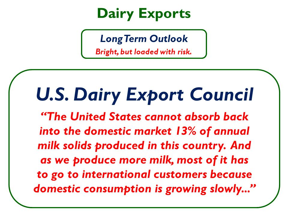 Dairy Exports Long Term Outlook Bright, but loaded with risk.