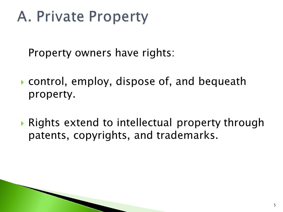 Property owners have rights: control, employ, dispose of, and bequeath property.