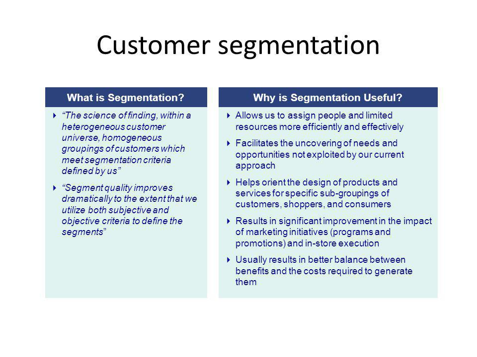 Customer segmentation What is Segmentation?Why is Segmentation Useful? Allows us to assign people and limited resources more efficiently and effective