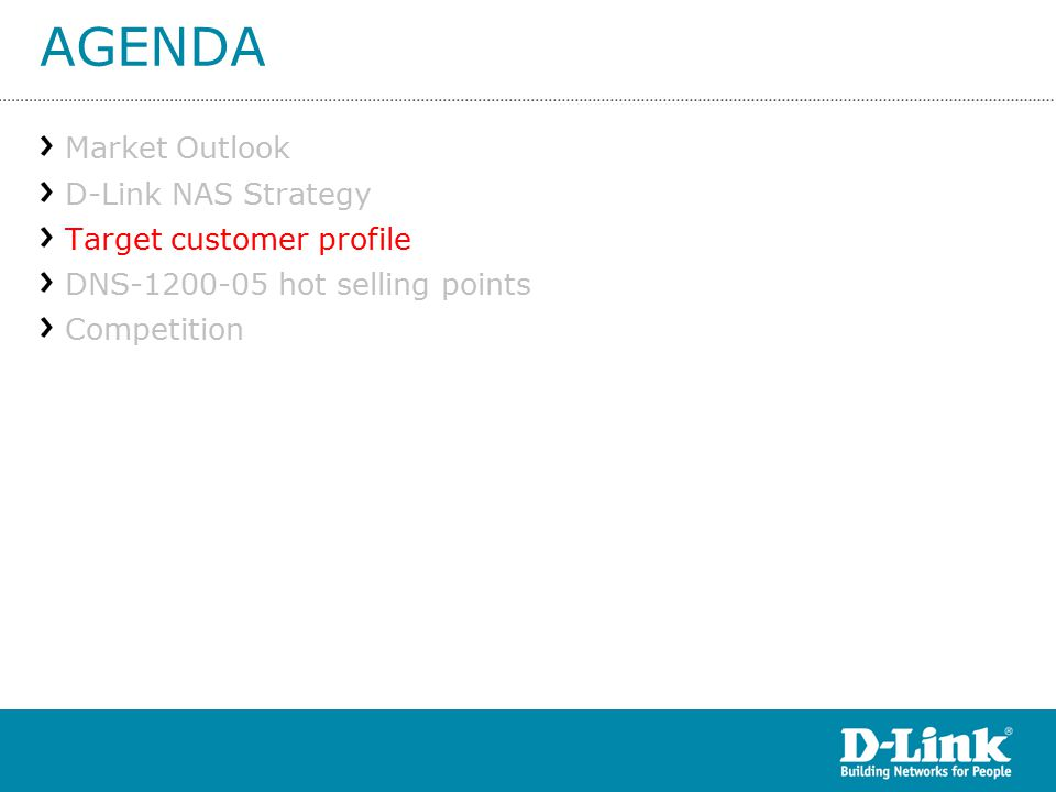 AGENDA Market Outlook D-Link NAS Strategy Target customer profile DNS hot selling points Competition