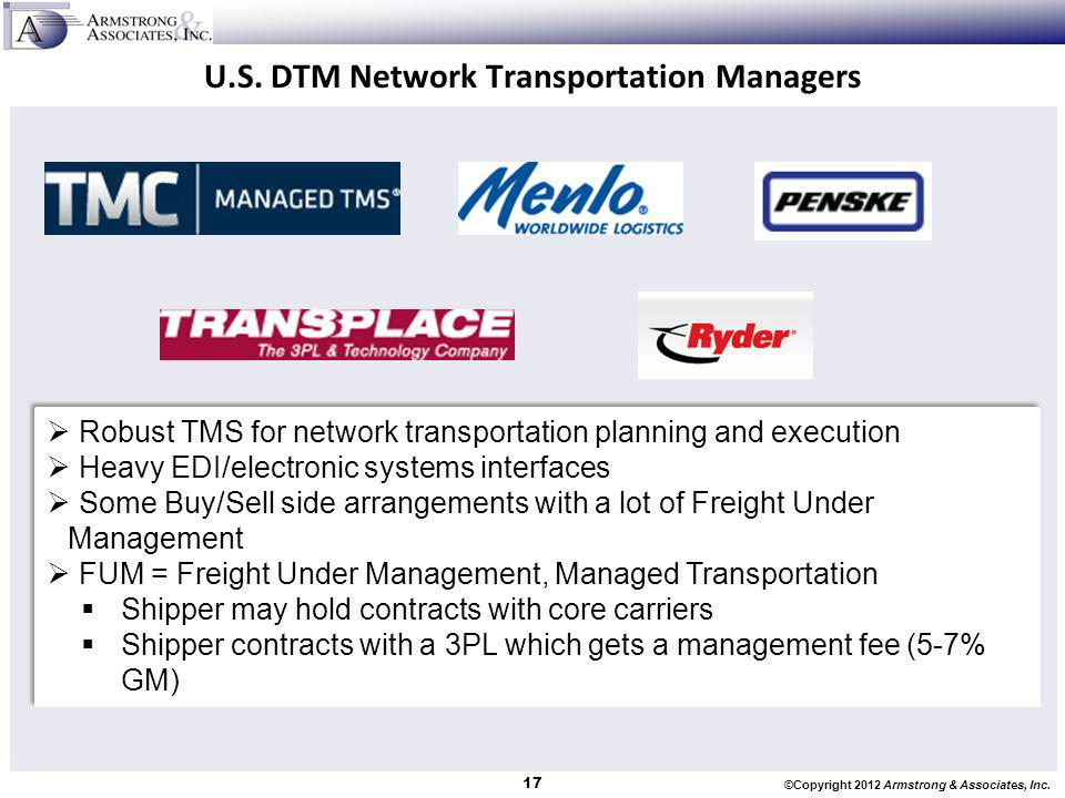 ©Copyright 2012 Armstrong & Associates, Inc. U.S. DTM Network Transportation Managers Robust TMS for network transportation planning and execution Hea