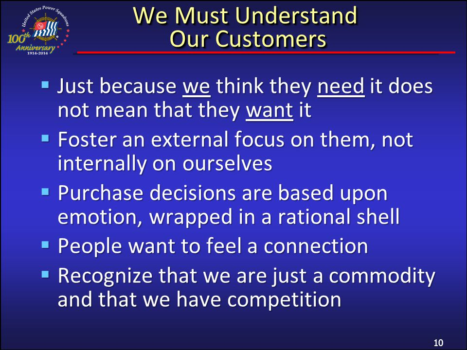 We Must Understand Our Customers Just because we think they need it does not mean that they want it Just because we think they need it does not mean that they want it Foster an external focus on them, not internally on ourselves Foster an external focus on them, not internally on ourselves Purchase decisions are based upon emotion, wrapped in a rational shell Purchase decisions are based upon emotion, wrapped in a rational shell People want to feel a connection People want to feel a connection Recognize that we are just a commodity and that we have competition Recognize that we are just a commodity and that we have competition 10