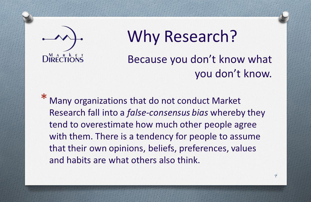 * Many organizations that do not conduct Market Research fall into a false-consensus bias whereby they tend to overestimate how much other people agree with them.