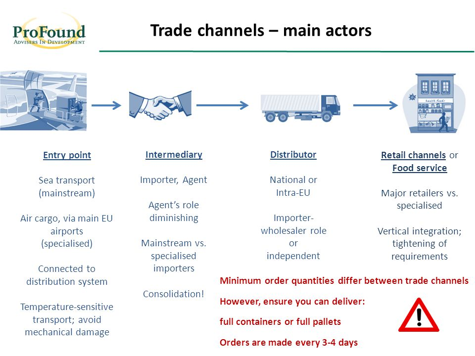 Trade Structure Distributor National or Intra-EU Importer- wholesaler role or independent Retail channels or Food service Major retailers vs.