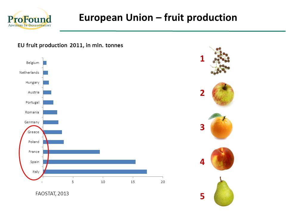European Union – fruit production EU fruit production 2011, in mln. tonnes FAOSTAT, 2013 1234512345