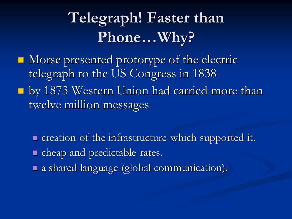 Telegraph. Faster than Phone…Why.