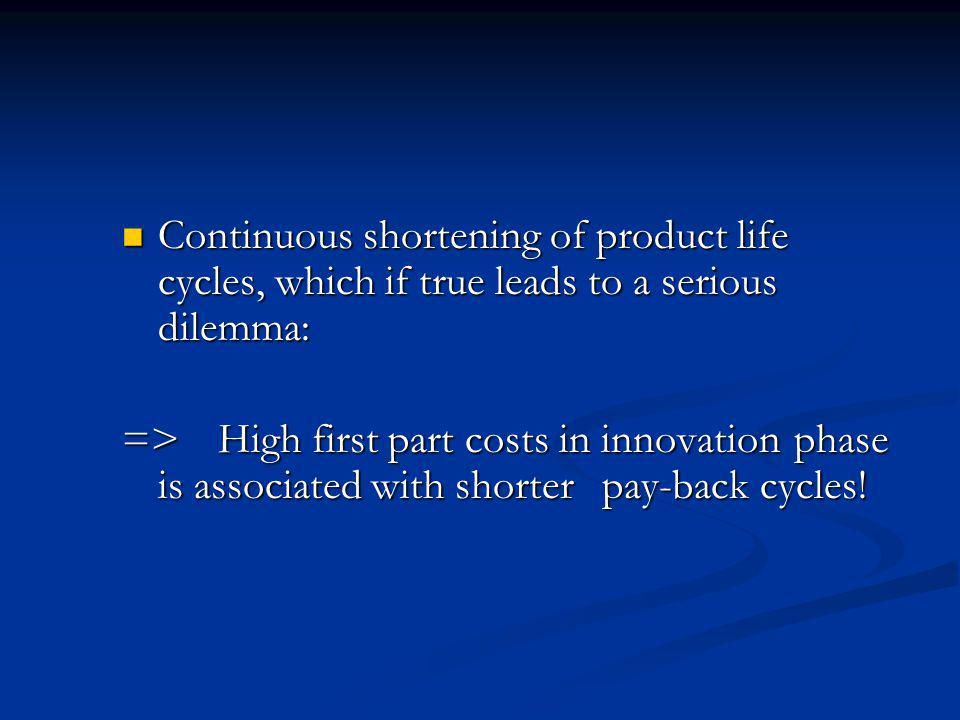 Continuous shortening of product life cycles, which if true leads to a serious dilemma: Continuous shortening of product life cycles, which if true leads to a serious dilemma: =>High first part costs in innovation phase is associated with shorter pay-back cycles!