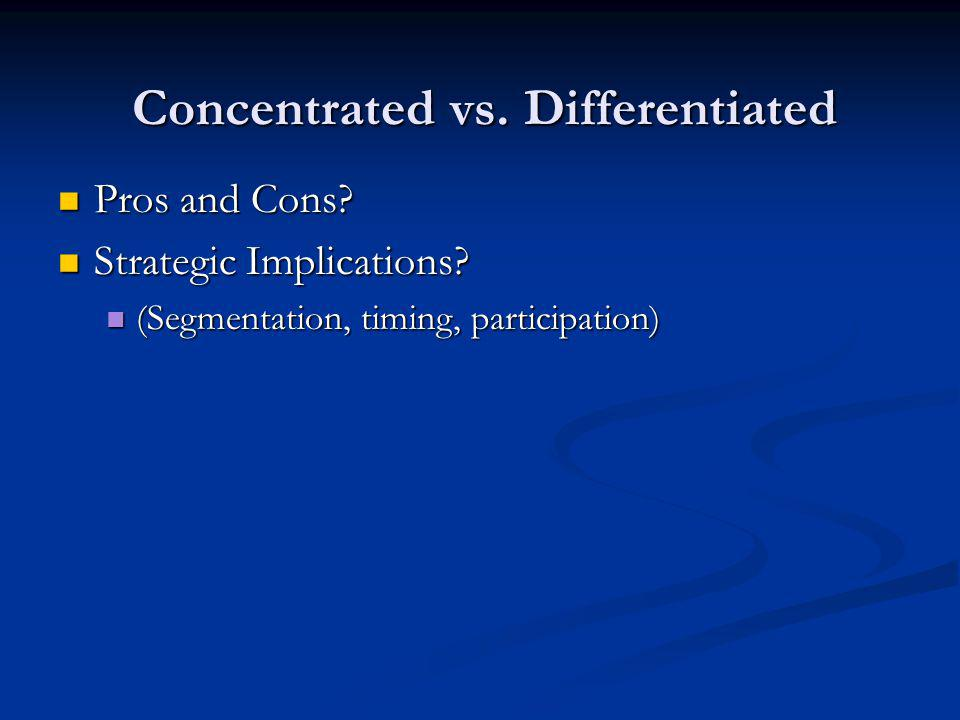 Concentrated vs. Differentiated Pros and Cons. Pros and Cons.