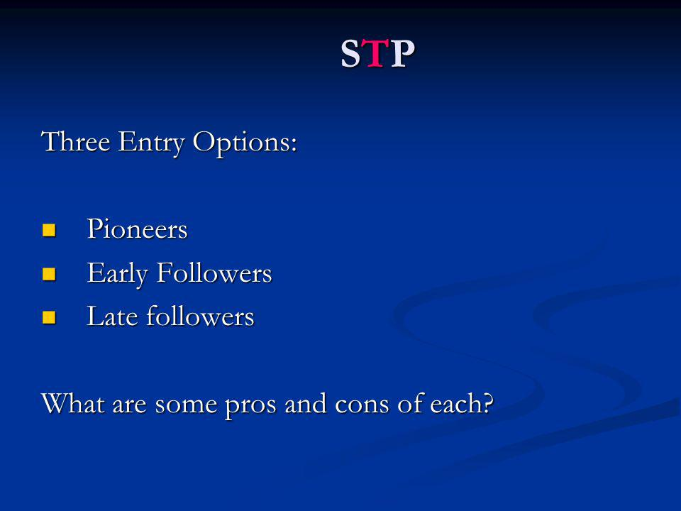 Three Entry Options: Pioneers Pioneers Early Followers Early Followers Late followers Late followers What are some pros and cons of each.