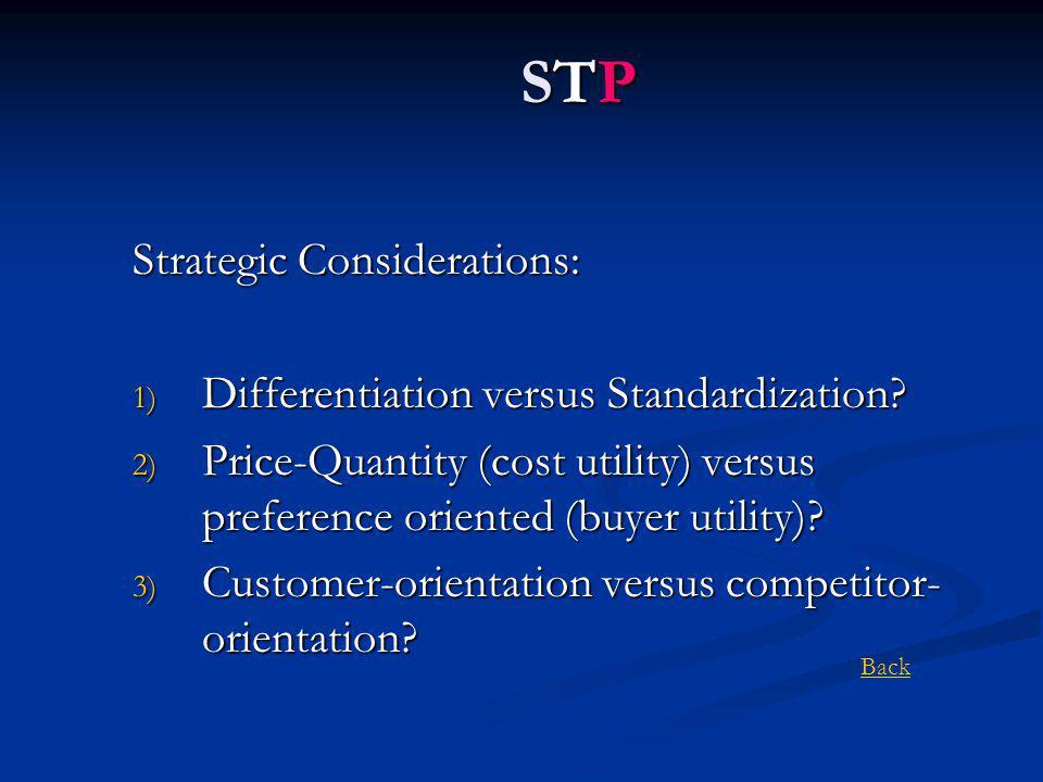 Strategic Considerations: 1) Differentiation versus Standardization.